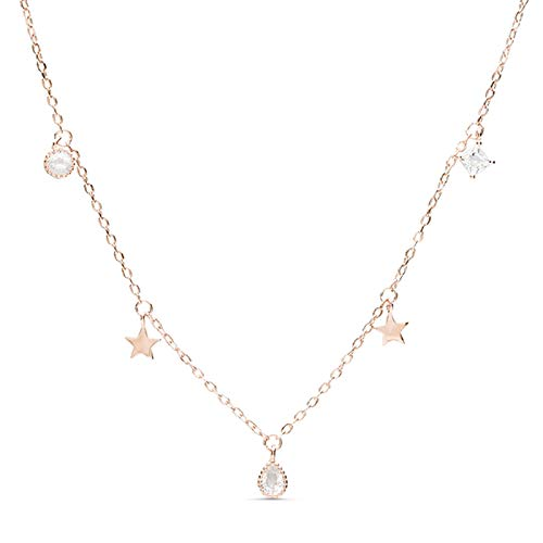 LUXENTER Collar Estrella en Plata, baño de Oro Rosa y circonitas