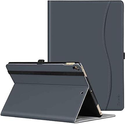 ZtotopCase Carcasa de Cuero con Bolsillo y Soporte,Función de Auto-Sueño/Estela, Múltiples ángulos para iPad Air 3 10,5 2019 & iPad Pro 10,5 2017 Gris Oscuro