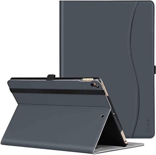 ZtotopHülle Hülle für iPad Air 10,5 2019 (3. Generation) und iPad Pro 10,5 2017, Premium Leder Geschäftshülle mit Ständer, Kartensteckplatz, Auto Schlaf/Aufwach Funktion, Mehrfachwinkel, Dunkelgrau