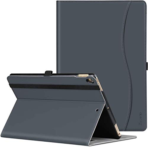 ZtotopCase Case for iPad Air 10.5' 2019 (3rd Generation) & iPad Pro 10.5 2017,PU Leather Business Folio Cover,with Stand,Pocket and Auto Wake/Sleep Function,Multi-angle,Dark Gray