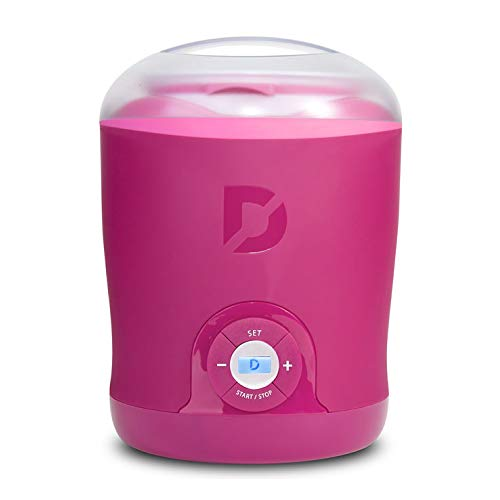 Dash Greek Yogurt Maker Machine with LCD Display + 2 BPA Storage Containers with Lids: Perfect for Organic, Sweetened, Flavored, Plain, or Sugar Free Options for Baby, Kids, Parfaits, Pink