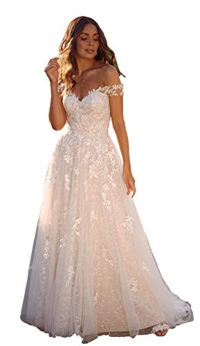 YMSHA Women's Vintage Elegant Off Shoulder Ball Gowns Wedding Dresses Lace Applique Bridal Gown with Sleeves Style2 Ivory 12