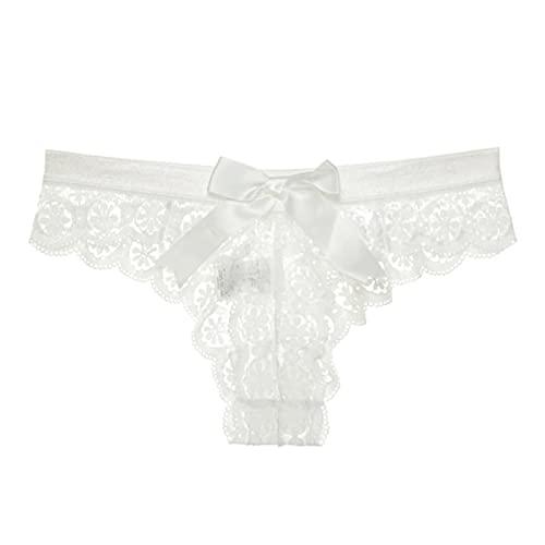 SHIYONG, lencería para Mujer, Ropa Interior de Encaje Blanco, Tanga con Espalda en T para Mujer, Bragas Transparentes con Lazo en la Espalda, Bragas Transparentes