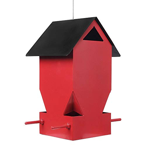 DAGUAI Hanging Bird Houses Humming Bird Feeder, Bird Feeder Hanging House Bird Feeder Metal for Garden Yard outside Decoration,Red