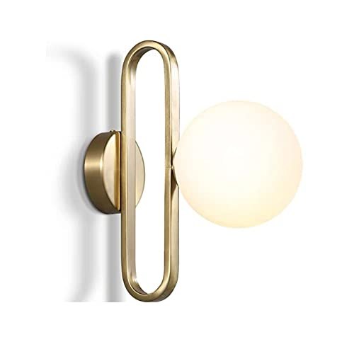 YXLMAONY Aplique de Pared esférico, lámpara de Pared LED de Metal Moderna, Pantalla de lámpara de Vidrio, lámparas de Sal de cabecera para dormitorios, Sala de Estar, Cocina, lavadero