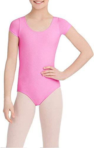 Capezio Girls' Big Classic Short Sleeve Leotard, Candy Pink, Medium