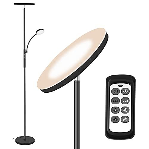 Totofac Lámpara de Pie Dimmer, 27W lámpara principal + 7W Lampara de lado,3 Temperaturas de Color con Control Remoto y Táctil,para Sala de Estar, Dormitorio