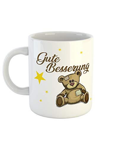 clothinx Gute Besserung Bär Plüschtier Tasse Perfekt Als Genesungswunsch für die Erkältung und zum Aufenthalt im Krankenhaus
