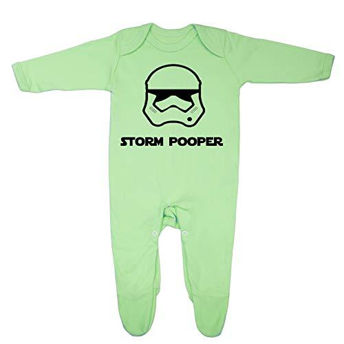 """""""Storm Pooper"""", lustiger Baby-Schlafanzug, inspiriert von Star Wars, entworfen und gedruckt in Großbritannien aus 100 % feiner, gekämmter Baumwolle Gr. 12 - 18 Monate, lime"""