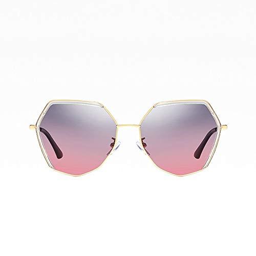 DKEE Gafas de Sol Nuevas Damas Polarizadas Gafas De Sol De Moda Polígono Marco Transparente Gafas De Metal Viajes Al Aire Libre Protección UV400 Gris Degradado Rojo Lente