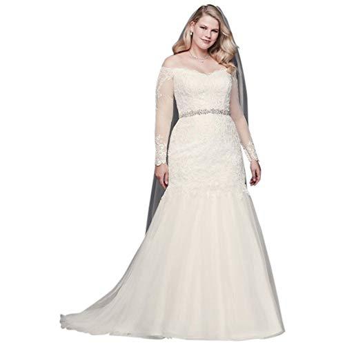 Long Sleeve Off-Shoulder Plus Size Wedding Dress Style 9WG3943, Ivory, 16W