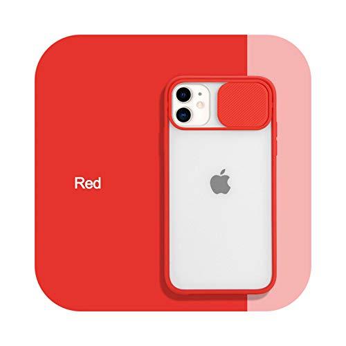 Funda protectora para iPhone 11 12 Pro Max X XS XR Xs Max Mate de policarbonato duro transparente para iPhone 12 Mini 6 6S 7 8 Plus-rojo para iPhone 12 Pro