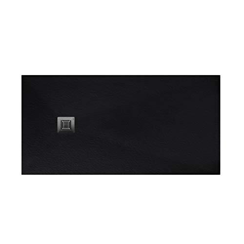 Plato de ducha rectangular de 150 x 80 x 3 centímetros, con válvula de desagüe, colección Suite N, color negro (Referencia: 6348502)