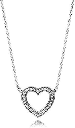 ZHIFUBA Co.,Ltd Collar 925 Collares de Plata Flor Corazón Colgantes Collar Pulseras para Mujeres Fiesta Boda Joyería Regalos