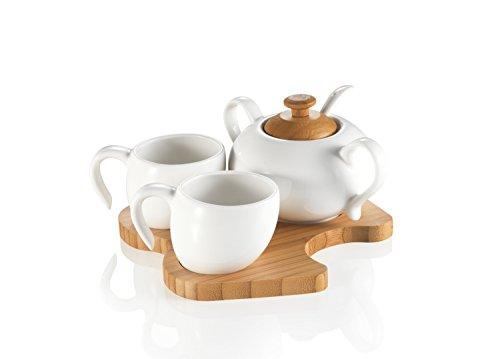 Brandani 56875 Café Set de 4 Pièces avec Coupelle Porcelaine/Bambou