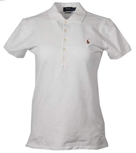 Ralph Lauren Damen Slim Fit Polo - Weiß mit Buntem Logo (S)