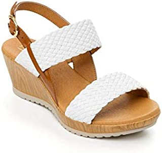 ELENNA Women's Perfect Leather Summer Wedge Sandals