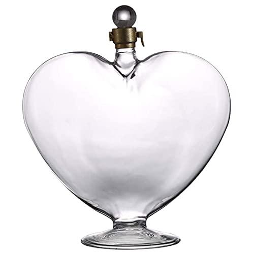 Angelay-Tian Jarra de Licor en Forma de corazón de 1000 ml, aireador de Vino, Jarra de Vidrio con tapón hermético, restaurantes y Fiestas para un conocedor