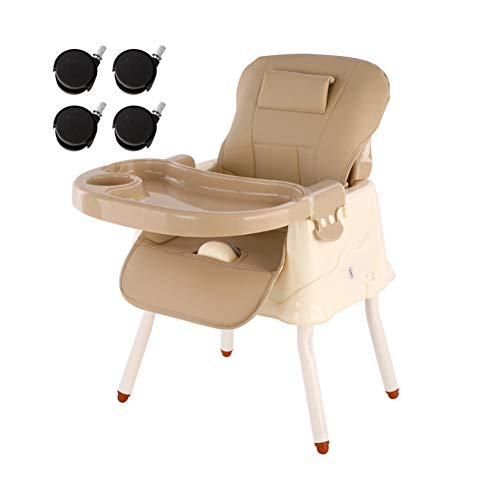 LU KU Easy Folding & Adjustable Safety Harness Multicolor Optional Portable Baby Chair Booster Seat with Tray, for Babies Aged 3-36 Months, Attach To Fast Table Chair for Home And Travel,khaki