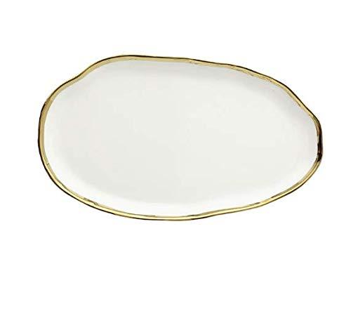 Geschirr-Sets Keramik-Küchengeschirr-Set 6-teilig, Goldrand schwarz / weiß mit 7-Zoll-Tellern, Salatdessert, 5-Zoll-Schalen , Saucenschale, Löffel (12 Zoll Untertasse weiß)