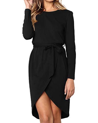 Style Dome Kleider Damen Langarm Strickkleider Rundhals Talliert Mini Freizeitkleid mit Gürtel für Party Schwarz-D05326 L