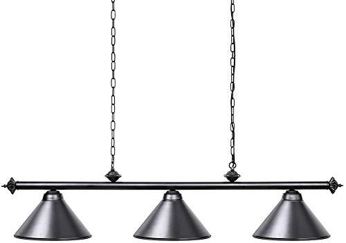 YHYGOO Billardtischlampe 7-9ft DREI Metallschirm, Lampe Billardtisch mit Männern Nest, EIN Spielzimmer, Küche Insel Licht Restaurant Esszimmer schwarz,2