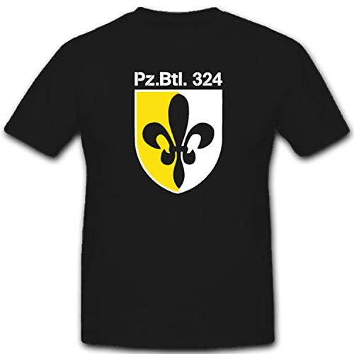 Pzbtl 324 Schwanewede Wappen Lilie Panzer Bataillon Bundeswehr Kaserne Wappen- T Shirt #1987, Farbe:Schwarz, Größe:Herren 4XL