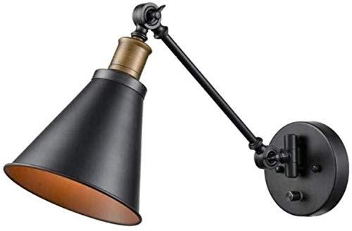 HongLianRiven Lámpara de Pared Luz Industrial de Pared Ajustable Luz de Pared Swing Brazo Black Metal Cuerpo Principal ático Luz de Pared Lámpara de Noche