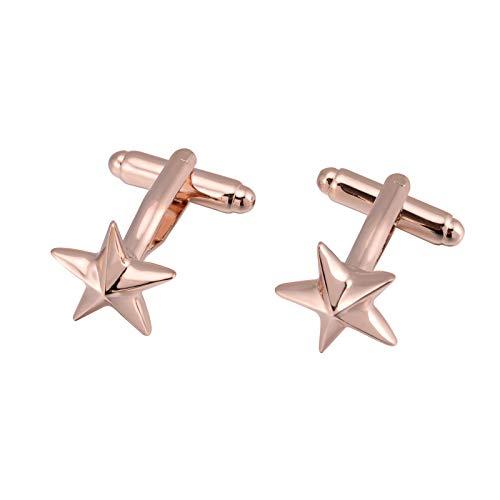 SWXCufflinks Gemelos franceses. Estrella Tridimensional. Estrella de Cinco Puntas. Gemelos franceses Pintados. Uñas de puño de Cobre, Tridimensional Oro Rosa 900565.