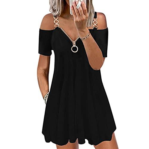 L9WEI Sommerkleid Damen Lässiges Leichte Kurz Kleider Sommer Lose Kurzarm Kleid mit Reißverschluss Boho Strandkleid Mode Minikleid