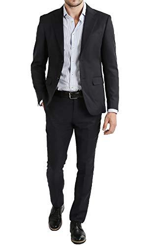 Abito Completo Uomo Giacca con Pantaloni Elegante Casual (44, Nero)