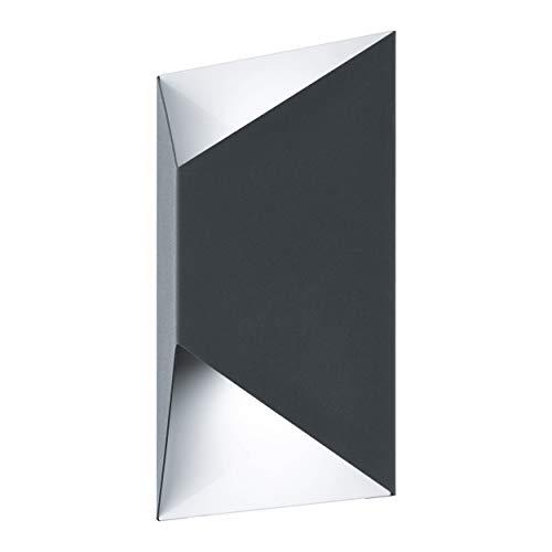 EGLO LED Außen-Wandlampe Predazzo, 2 flammige Außenleuchte, Wandleuchte aus verzinktem Stahl, Farbe: Anthrazit, weiß, IP44