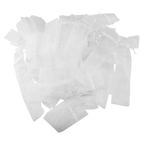 Uniquk Paquete de 100 Bolsa de Abanico de Mano Plegable Bolsas de Organdí con Cordón Bolsa de Bolsillo Abanico Plegable para Exterior Bolsas del Regalo del Favor de Banquete de Boda