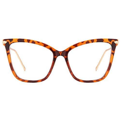 Blue Light Blocking Glasses - GEKKALE New Elegant Oversized Clear Cat Eye Non-Prescription Glasses (Leopard)