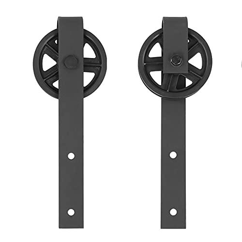 Changor Rouleau de matériau de Porte coulissante coulissante Robuste, Acier au Carbone en Acier au Carbone de qualité et et Pom fabriqué 4-4.5cm   1,6-1.8in pour Armoire de Placard (Noir)