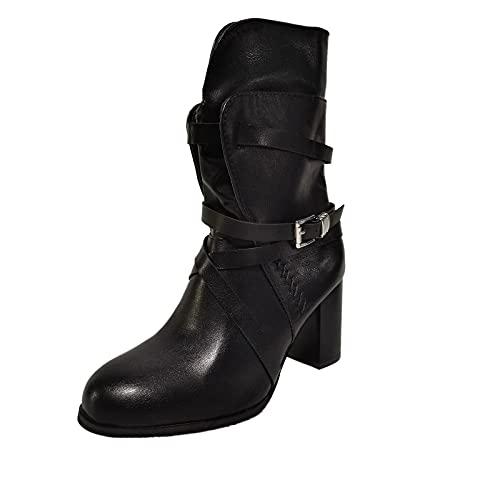 Heumgtnvx Womens Winter Combat Boots Retro High Heels Booties Buckle Square Heel Round Toe Zipper Short Boots Black
