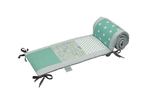 Bettumrandung für Babybett 60x120 cm | Made in EU | ÖkoTex 100 | Schadstoffgeprüft | Antiallergisch | Baby Nestchen für den Kopfbereich | Umrandung Babybett | Safari Pfefferminz | ULLENBOOM ®