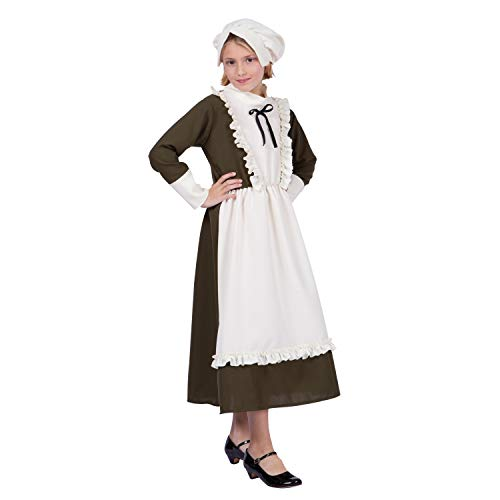 Arology Colonial Peasant Girl Child Size Costume Fabric for Comfortable Fit, Including Dress, Apron, and Hat/Bonnet (Large (12-14))