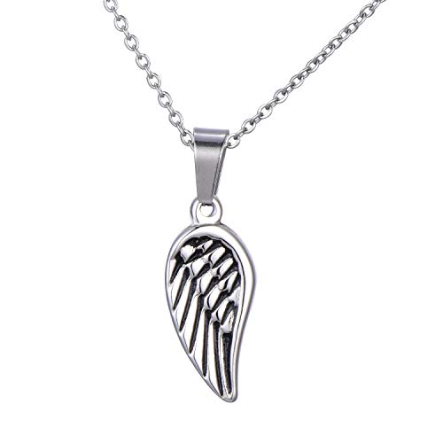 Morella Damen Halskette Engelsflügel Flügel Anhänger Edelstahl Silber im Samtbeutel