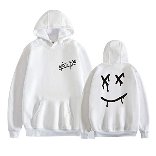 Unisexo Louis Tomlinson Miss You Smiley Face Sudadera con Capucha, Louis Tomlinson One Direction Unisex Hipster Casual Pullover Hoody Abrigos-A_2XL