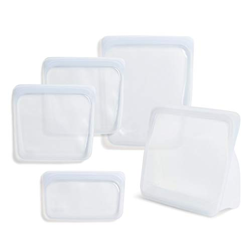 Stasher 100% Silicone Food Grade Reusable Storage Bag, Clear (Bundle 4-Pack Large + Bag to Give)  ...