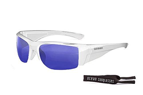 Ocean Sunglasses - Guadalupe - lunettes de soleil polarisées - Monture : Blanc Laqué - Verres : Revo Bleu (3501.2)