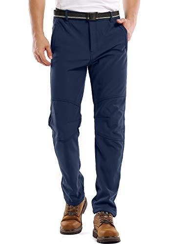 Jessie Kidden Mens Waterproof Hiking Pants, Outdoor Snow Ski Fishing Fleece Lined Insulated Soft Shell Winter Pants (5088 Blue, 34)