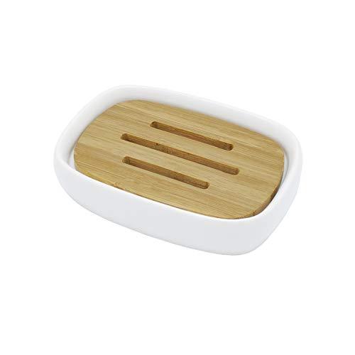 Lofekea Keramik Seifenschale Bambus Seifenhalter für Bad und Dusche Double Layer Draining Soap Box