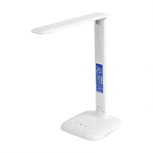 lámpara LED de escritorio, lámpara de mesa regulable con despertador, calendario, hora y temperatura, Control táctil, lámpara de noche con 5niveles de luminosidad