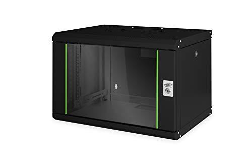 DIGITUS Professional 7U Network Wall Cabinet Línea única en negro con una robusta construcción de chapa de acero