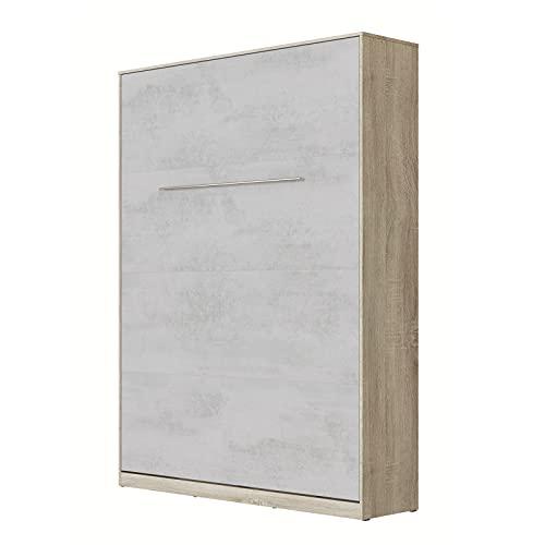 SMARTBett Standard 140x200cm Vertical Roble Sonoma/Concreto   Cama Abatible, Cama De Pared, Cama Plegable, Cama Oculta