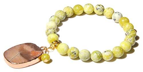 HAOKTSB Pulsera de Piedra Mujer, 7 Chakra Piedra Natural Bangle Amarillo Mapa Jasper Pulsera Elástica Yoga Rosa Oro Joyería Colgante Pulsera de Piedra