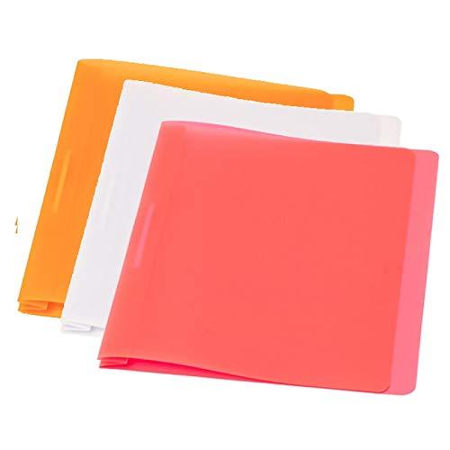 FLVG 3 A4 Schnellhefter, Farben: orange, transparent, pink, von hinten abheftbar