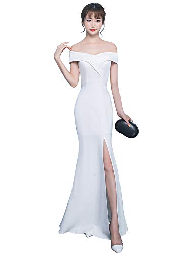 Beauty-Emily Long Formal Evening Gowns for Wedding Guest Dresses Slip White S(02-04) (Apparel)